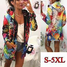 Plus Size, multicolour, Coat, graffitiwintercoat