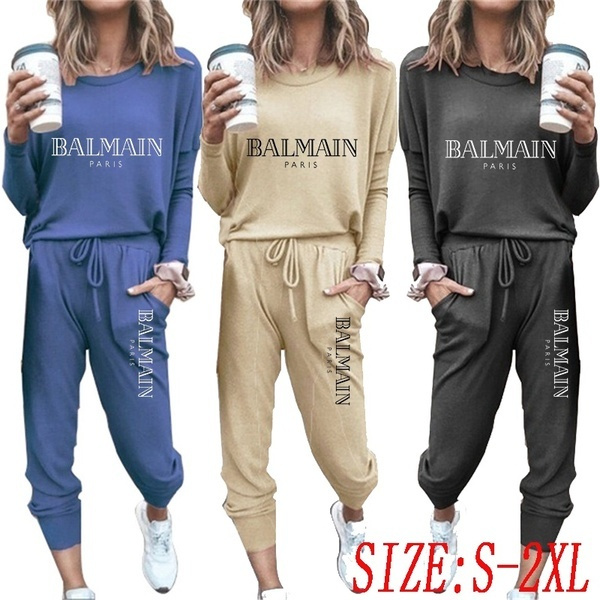 Women Plus Size Sport Suit Tracksuit Running Set Solid Color Cotton Long Sleeved Jogging Tops And Pants Wish