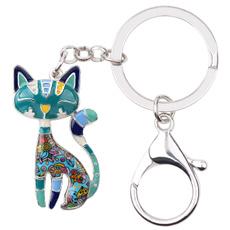 catjewelrykeychain, keychainsforwomen, catkittenkeyring, Elegant