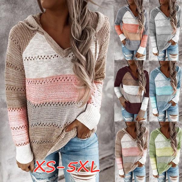 stitchingcolorsweater, hooded sweater, Long sleeve top, Sweatshirts & Hoodies