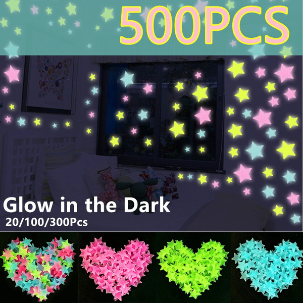 20 100 300 500pcs Wall Stickers Decal Glow In The Dark Baby Kids Bedroom Home Decor 3cm Color Stars Luminous Fluorescent 5 Colors Wish