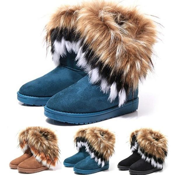 ankle boots, Plus Size, fur, Womens Shoes