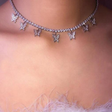 butterfly, Fashion, Jewelry, crystalclaviclechain