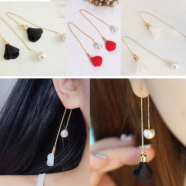 tasselsearring, Flowers, Jewelry, gold