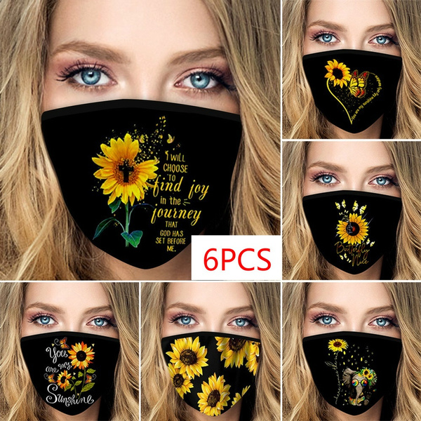 butterfly, Cotton, mouthmask, Sunflowers
