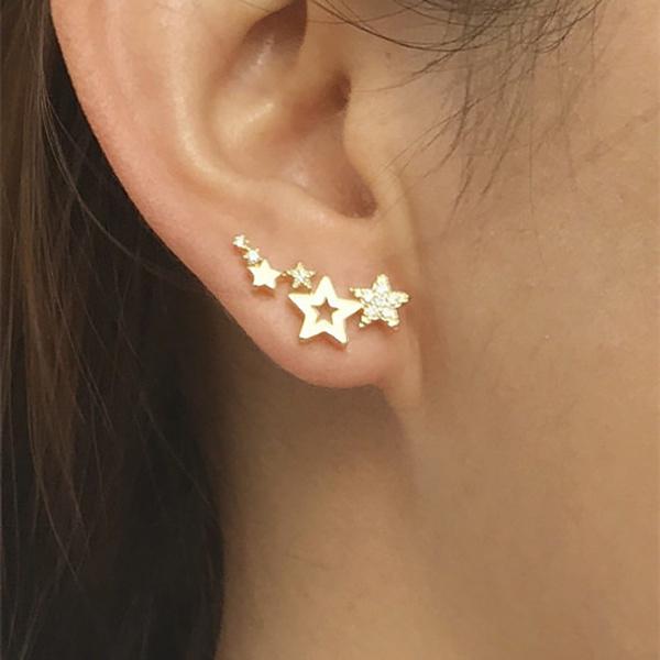 starstudsearring, earclimbersearring, earcuffjewelry, studsjewelry