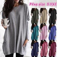 Pocket, Plus Size, tunic top, solidcolortop