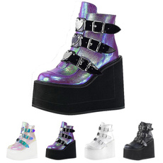 ankle boots, platformboot, highwedgesshoe, Buckles