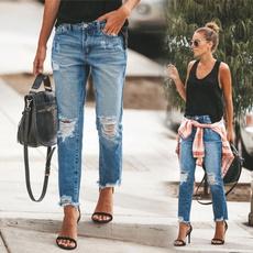 Fashion, hosendamen, Long pants, rippedjean