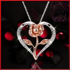 Heart, Diamond Necklace, 925 sterling silver, Jewelry