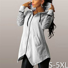 irregulartshirt, Casual Hoodie, letter print, Long Sleeve