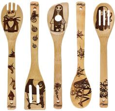 Kitchen, bambooutensilset, kitchenspoon, uniquepatternspoon