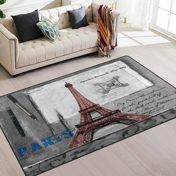 Naanle Paris Area Rug 5 X7 Vintage Retro Eiffel Tower Polyester Area Rug Mat For Living Dining Dorm Room Bedroom Home Decorative Wish