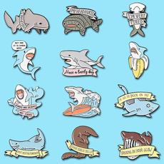 Shark, brooches, Pins, Skateboard