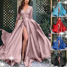 Deep V-Neck, gowns, deepvdresslongsleeve, Lace