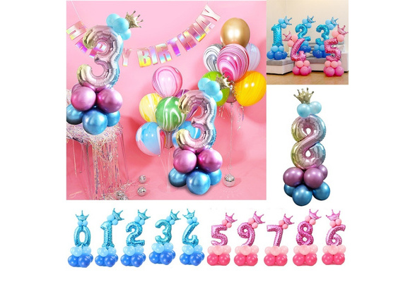 32inch Rainbow Number Foil Balloons Air Balloon Birthday Party Decorations Kids Rose Gold Pink Blue 0 9 Digit Ball Wish