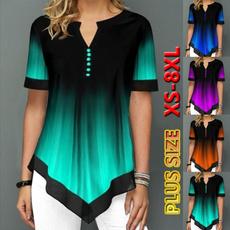 Summer, Plus size top, chiffon, printed shirts