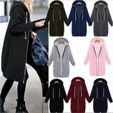 Plus Size, hooded, Winter, Zip