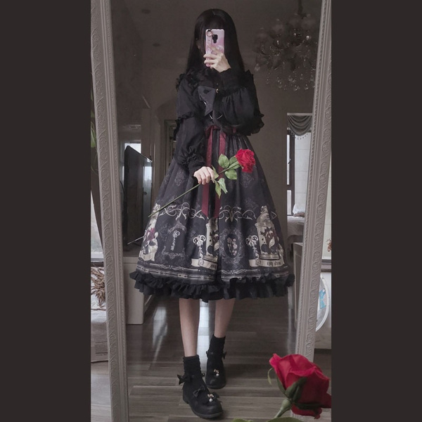 Lady Girls Gothic Lolita Dress Cosplay Costume Kawaii Ruffle Slip Vintage Black