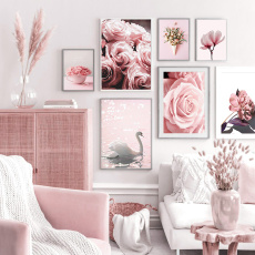 pink, canvasart, living room, Home Decor