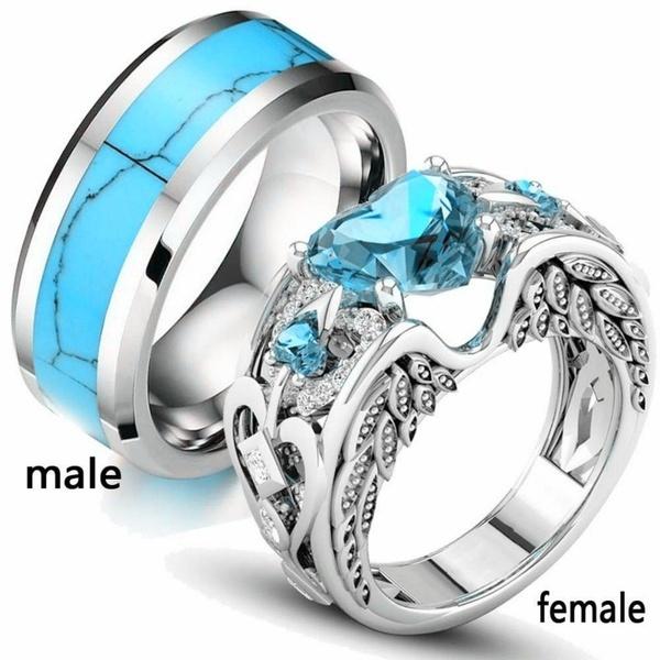 engagementringset, Couple Rings, Turquoise, Engagement