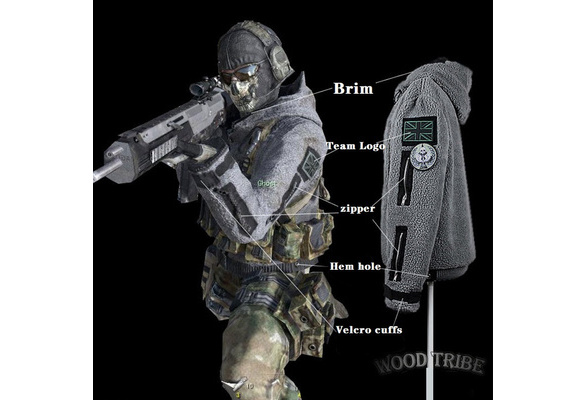 Call of Duty Costume Sweater Hood Unisex Ghost Jacket Tactical Outfit  Mens Coat