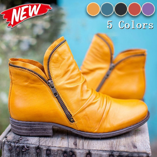 ankle boots, Plus Size, Leather Boots, Fashion
