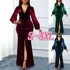 velvet, long sleeve dress, Sleeve, highwaistdres