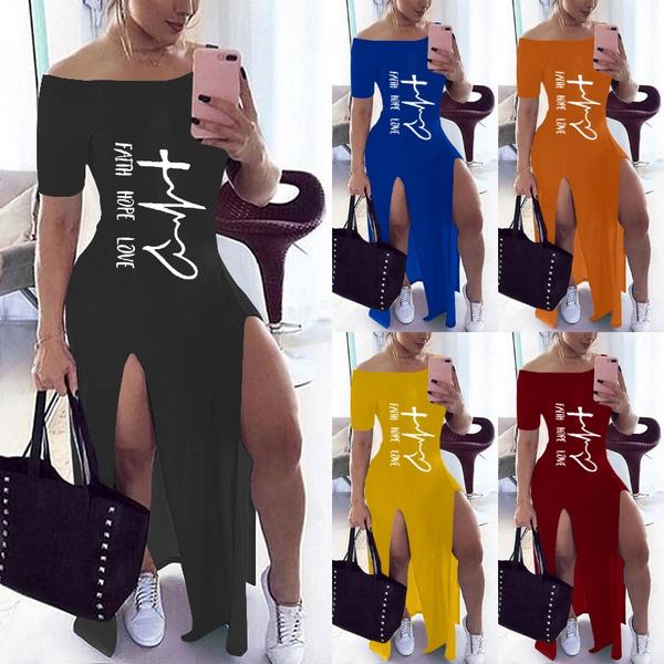 Fashion, letter print, long dress, fashion dress