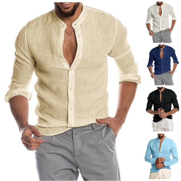 Stand Collar, buttonsupshirtsformen, Fashion, Shirt