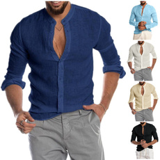 Stand Collar, buttonsupshirtsformen, Fashion, Shirt