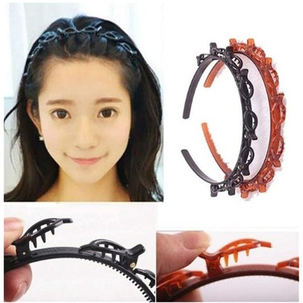 headbandwithclip, hollowwovenheadband, doublebangshairpin, multilayerhairband