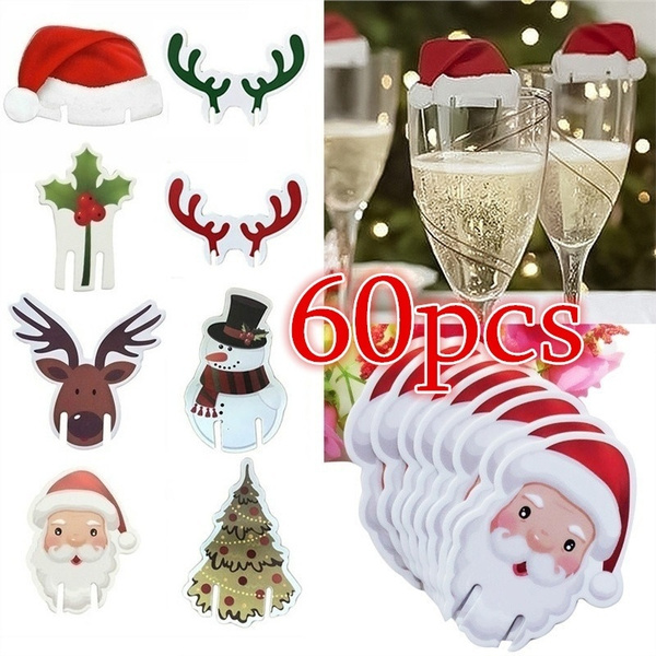 60 40 20pcs Wineglass Card Christmas Ornaments Christmas Decoration For Home Wine Glass Card Xmas Decor Christmas Accessories Wish