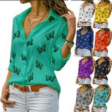 butterflyprint, Turn-down Collar, Fashion, Women Blouse