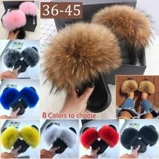 Sandals, fur, fluffyslippersforwomen, Plus Size
