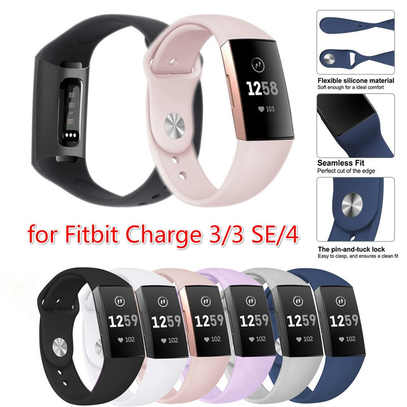Compatible with Fitbit Charge 4 Bands//Charge 3 Bands Slim Soft Silicone Sports