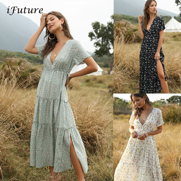 Summer, ruffle, long dress, Dress