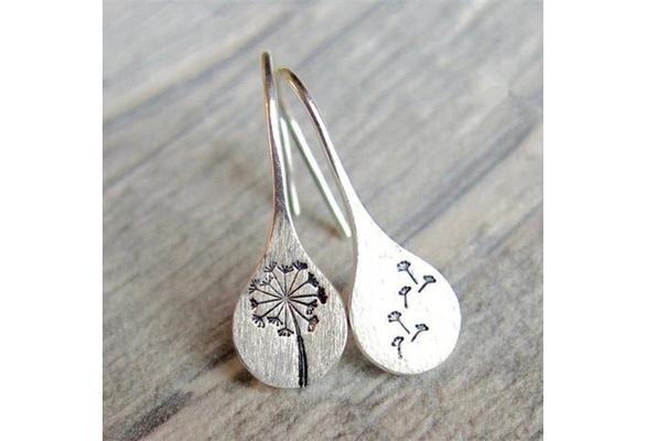 Sterling Silver Dandelion Fluff Stud Earrings Tiny Wish Dots Gift For Women