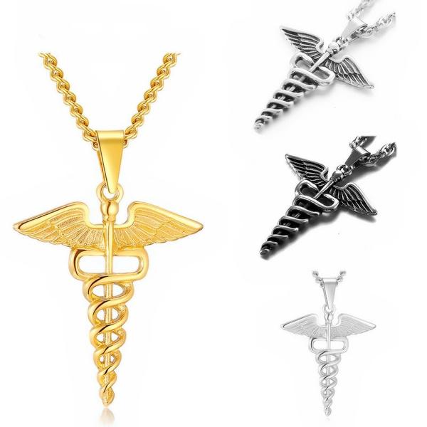 Steel, snakescepterangelwingspendant, Jewelry, medicalsymbol