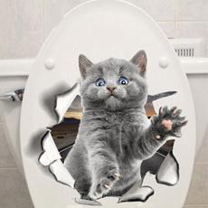 3dcatwallsticker, vividsticker, Bathroom, catwallsticker