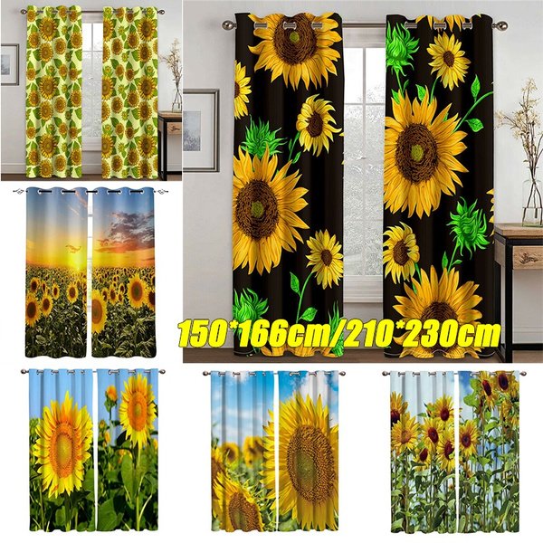 Sunflowers Bloom Garden Window Curtains Living Room Kitchen For Bedroom Left And Right Biparting Open Drapes 2 Panel Set Wish