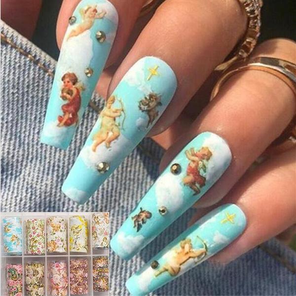 nail stickers, Flowers, Beauty, Angel