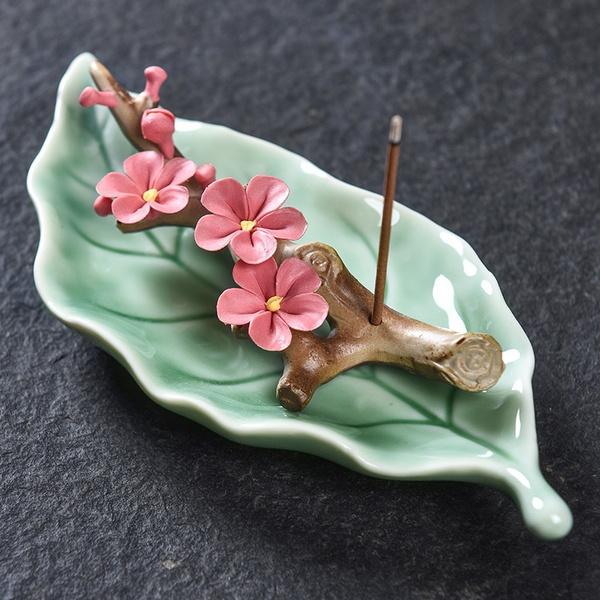 leaves, Ceramic, teahousedecor, peach
