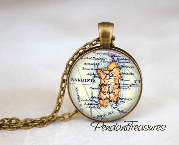 Map, Key Chain, Jewelry, sardinia