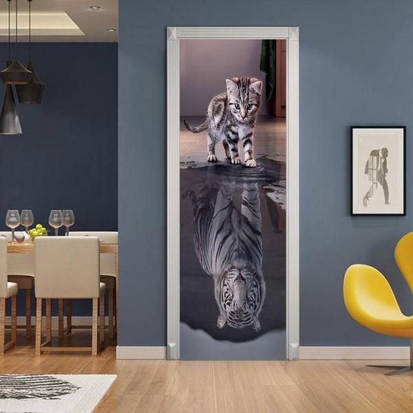 Tiger, doormural, Door, Home Decor