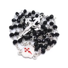 alloyrosarynecklace, pinebeadnecklace, Cross necklace, roundpinebead