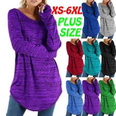 Plus Size, Cotton T Shirt, Long Sleeve, Winter