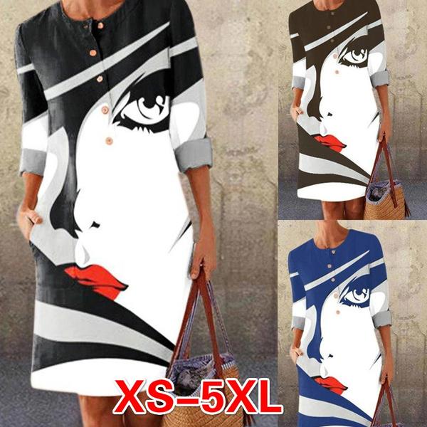 Plus Size, Necks, Casual, Dresses