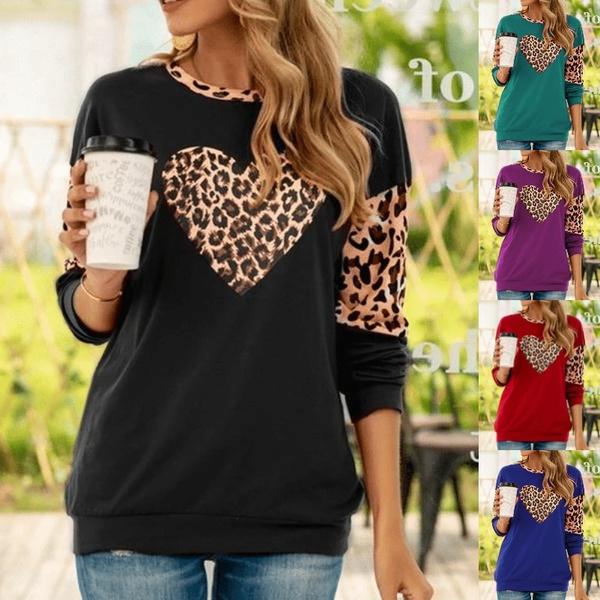 shirtsforwomen, Plus Size, leopardtshirt, Long Sleeve