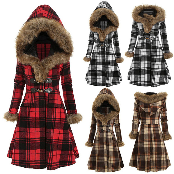 plaidovercoat, woolen, hooded, fur
